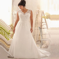 2017 Elegant V-neck Plus Size Wedding Dresses with Appliques Beaded Chiffon Cheap Bridal Gowns Free Shipping