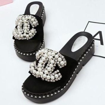 Kalete CHANEL Women Fashion Pearl Slipper Flats Shoes