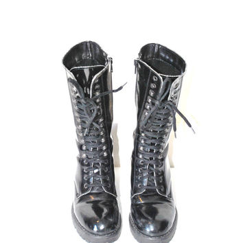 size 6.5 chunky platform cyber goth club kid lace up boots