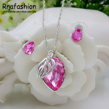 White leaf drop pendant necklace earrings fashion je... | Tophatter