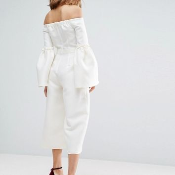 ASOS Occasion Jumpsuit with Frill Sleeves at asos.com