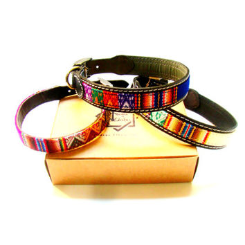 Leather Collar with ethnic loom lining, small pets, boho collar, dog collar,puppy,medium dog, big dog