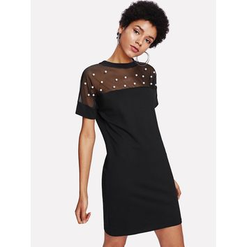 Pearl Beaded Mesh Yoke Tunic Dress