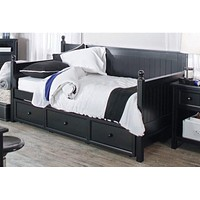 Twin size Black Wood Daybed with Pull-out Trunle Bed