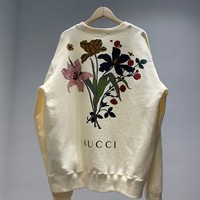 """Gucci"" Women Multicolour All-match Pattern Flowers Fashion Letter Logo Round Neck  Long Sleeve Sweater Tops"