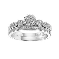 Love Always Round-Cut Diamond Engagement Ring Set in Sterling Silver (1/3 ct. T.W.) (White)