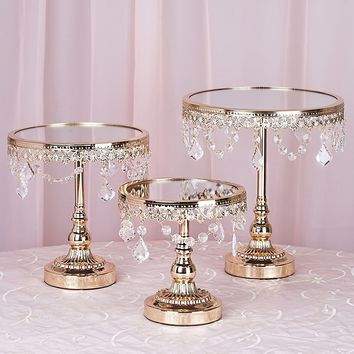 Efavormart Set of 3 Round Gold Top Cup Cake Riser Centerpiece Stand Wedding Birthday Party Dessert Rise Cake Display Stand