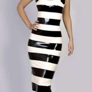 AMELIE Horizontal Banded Stripe Long Latex Dress.
