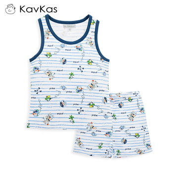 Kavkas Baby Boy Clothes Set Full Printing Pirate Sleeveless Vest Birthday Outfit Baby Clothing Cotton 2pcs Suit Summer Wear