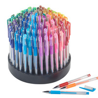 100 Gel Pens with Rotating Organizer - Assorted Coloring Gel Ink Pens Set with 100 colors - Pastel Neon/Neon/Glitter/Metallic Gel Pens - 100 Gel Pens