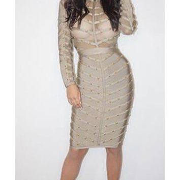 Secret Fantasy Grey Stud Long Sleeve Sheer Mesh Stripe Crew Neck Bodycon Bandage Midi Dress