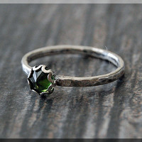 Peridot Ring, READY TO SHIP, August Birthstone Ring, Mini Inverted Gemstone Ring, Sterling Silver Ring, Stacking Ring, Peridot Birthstone