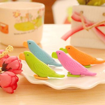 Cute Kawaii Parrot Pencil Eraser Creative School Rubber For Drawing Kids Gift Korean Stationery Free Shipping 2753