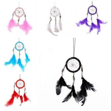 US Handmade Long Feather Dream Catcher Wall Car Hanging Key Chain Ornament B37