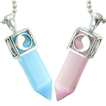 Positive Energy Yin Yang Love Couple Set Magic Amulets Crystal Points Sky Blue B