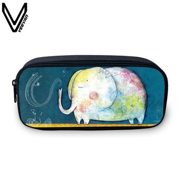 VEEVANV Cute Girls Pencil Case Animal Printing Women Wallets Elephant School Box Storage Pouch Casual Makeup Bags Fashion Purse