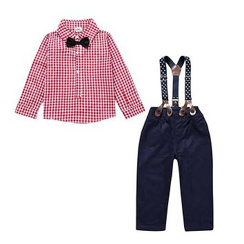 Clothes for newborns children's clothing for boys kids Gentlemen's suit For newborns Plaid shirt+butterfly+pants suspenders