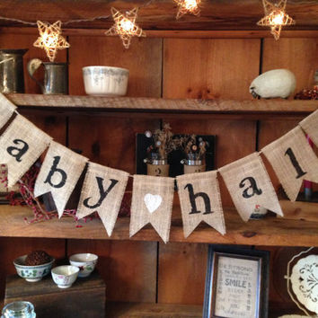 Burlap Baby Bunting, Baby Shower Decoration, Baby Girl Bunting, Baby Boy Bunting, Pregnancy Photo Prop, Country Shower Decor, Rustic Bunting