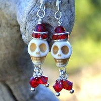 Christmas Santa Skull Earrings Handmade Red Swarovski Sparkling Beaded