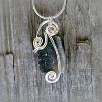Wire Wrapped Necklace - Black and White Agate Crystal Geode Druzy Pendant