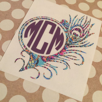 Lilly Pulitzer Inspired Peacock Feather Monogram | Monogrammed Feather |  | Monogrammed Feather Decal | Monogrammed | Personalized