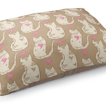 CAT LOVE NEUTRAL PATTERN Pet Bed By Northern Whimsy