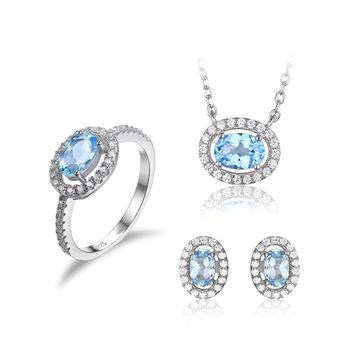 Jewelry Palace Women's Oval 3.1ct Natural Blue Topaz Jewelry Sets 925 Sterling Silver Stud Earrings Solitaire Pendant Necklace Ring