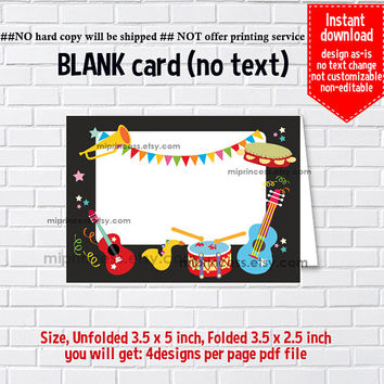 Instant Download, blank Card, #564 Music Party,  kids, food tent Card, place card, 3.5x2.5inch printable , non-editable NOT CUSTOMIZABLE