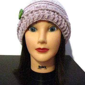 Blush pink hat with lime green button