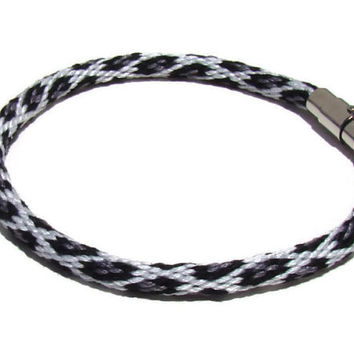 Gray snow leopard kumihimo bracelet with magnetic clasp