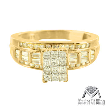 Womens 925 Silver 14K Gold Tone Baguette Lab Diamond Bridal Ring