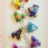 Eeveelutions Charm Bracelet, Clay Pokemon Charms, Eevee Evolution, Pokemon Generation, Anime Jewelry, Otaku, Geekery, Gamer Girl