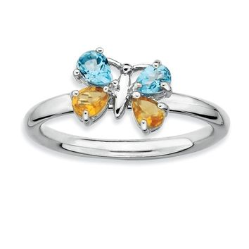 Silver Stackable Blue Topaz and Citrine Gemstone Butterfly Ring
