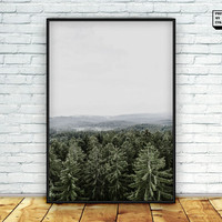 scandinavian print, nature wall art, forest photo, mountain print, printable art, digital, download, nordic wall art, woodland, winter print