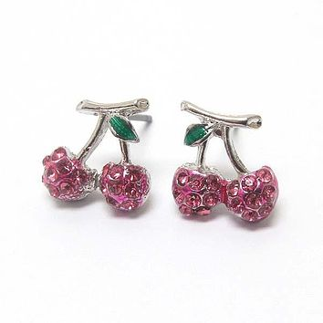 Premier Electro Plating Crystal Cherry Earrings