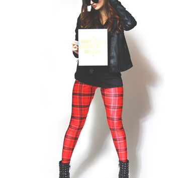 Red Tartan Plaid Leggings from Zara Terez