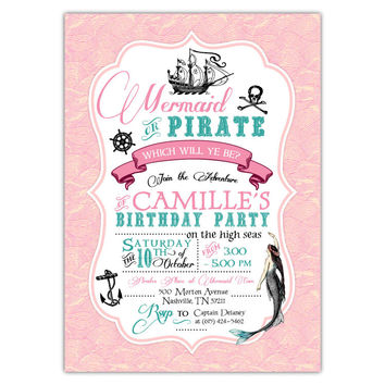 Vintage Mermaid Pirate Party Invitations (pink)