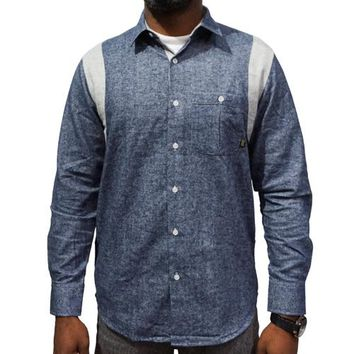 Blue Collar Button-up in blue chambray and grey chambray