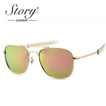 STORY Polarized Sunglasses Men AO Brand Designer Army Military Pilot Sunglasses American Optical Sun Glasses For Male Oculos