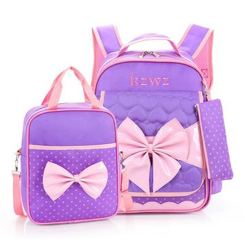 School Backpack Children School Bags Set High Quality  For Girls Waterproof Satchel Kids Book Bag cute bow ruceksack mochila AT_48_3