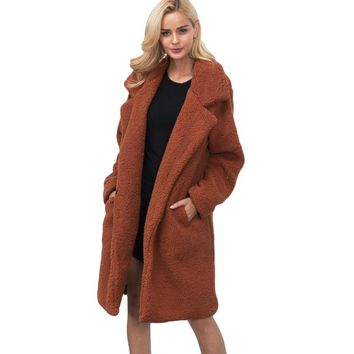 Women Fashion 2017 Winter Coat Fluffy Shaggy Long Coats Wool Blends Faux Fur Warm Cardigan Jacket Ladies Loose Trench Outerwear