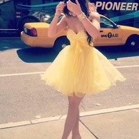 Cute Sweetheart Yellow Mini Tulle Prom Dress/Homecoming Dress from Dresses 2013