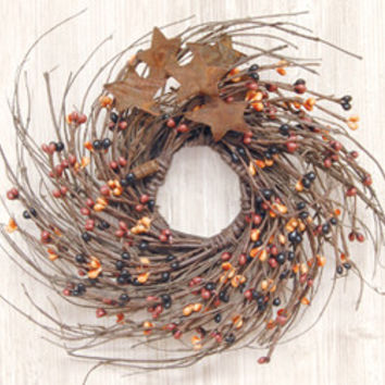 Primitive Mix Pip & Star Twig Wreath, 10inches