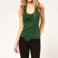 PLEATED ZIPPER ARMY GREEN H VEST