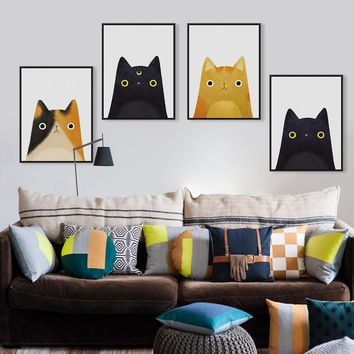 Watercolor Japanese Kawaii Animals Cat Face A4 Art Poster Prints Canvas No Frame Modern Beatiful Girls Room Home Decor Paintings