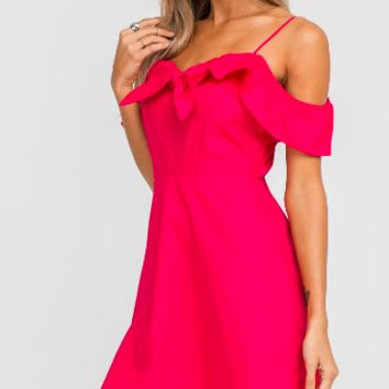Women's Off the Shoulder Dress with Front Tie