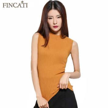 Womens Spring&Autumn Round Collar Cashmere Blend Sweater Sleeveless Slim Style Knitted Vest Pullover All-Match Knitwear Pulls
