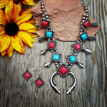 Red & Turquoise Squash Blossom Necklace