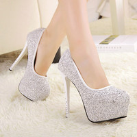 Fashion Round Closed Toe Stiletto High Heel White Pumps