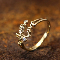 Endless Love letters Open Kuckle Ring Adjustable Best Friend Ring Jewelry Gold Silver Gift Idea